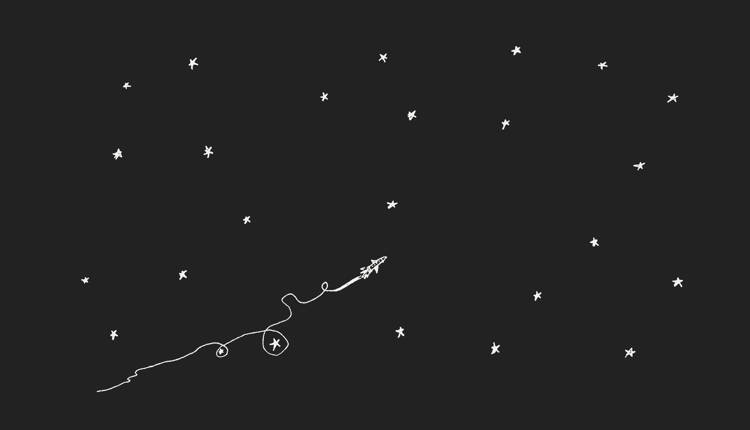 Ariel's Squiggle Rocket To the Stars, Black & White