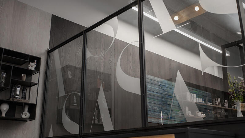 Art and Science vinyl logo on Glass Interior wall