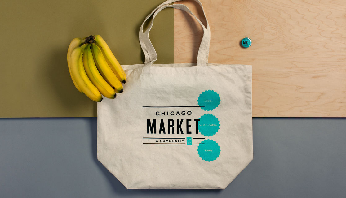 Chicago Market canvas tote bag with a button and bunch of bananas