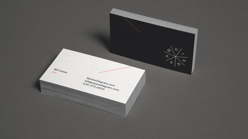 Two stacks of Diagram business cards showing the front and back