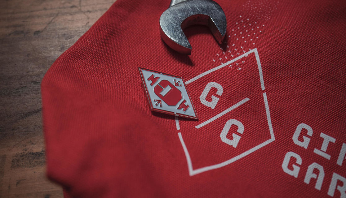 Girls Garage canvas tote and enamel skill badge detail
