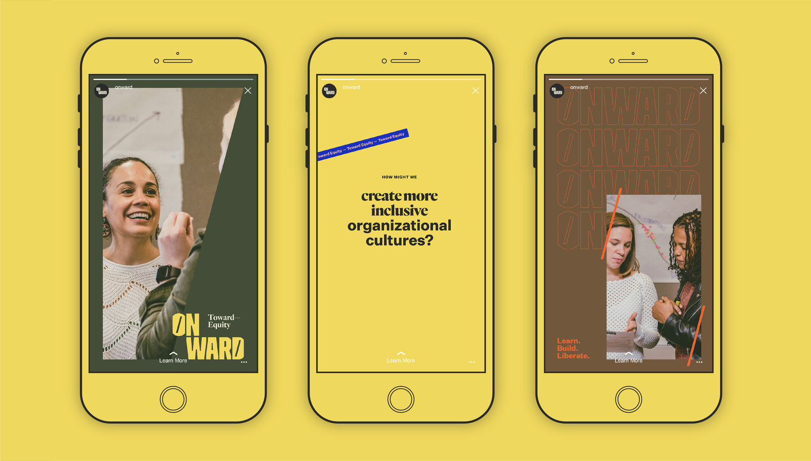Example of yellow instagram layout mockup for Onward