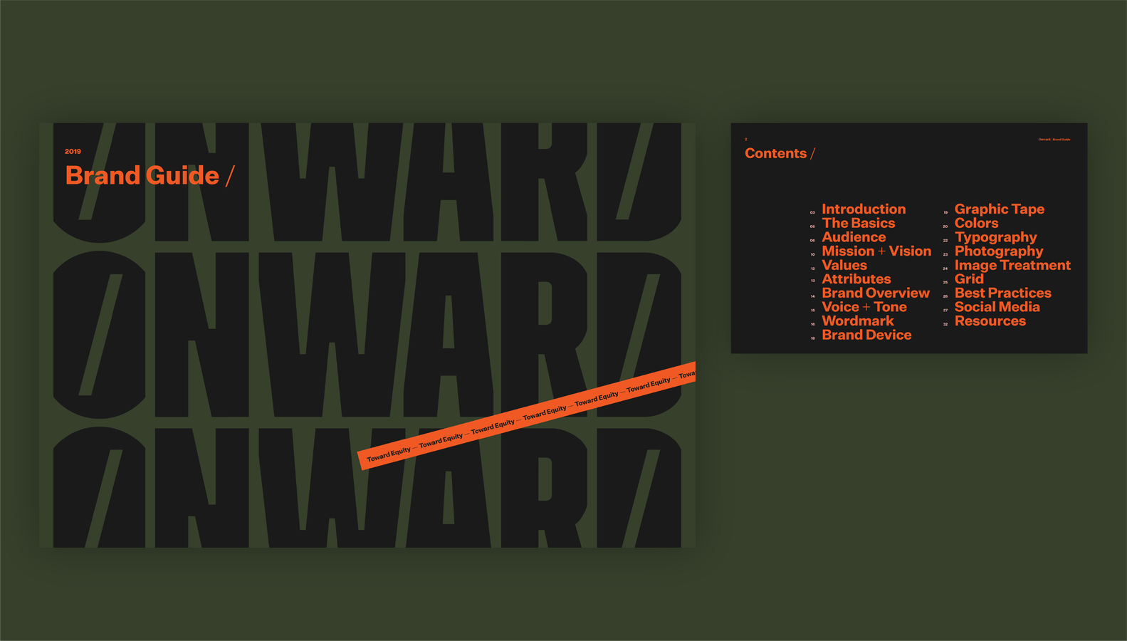Onward brand guide table of contents