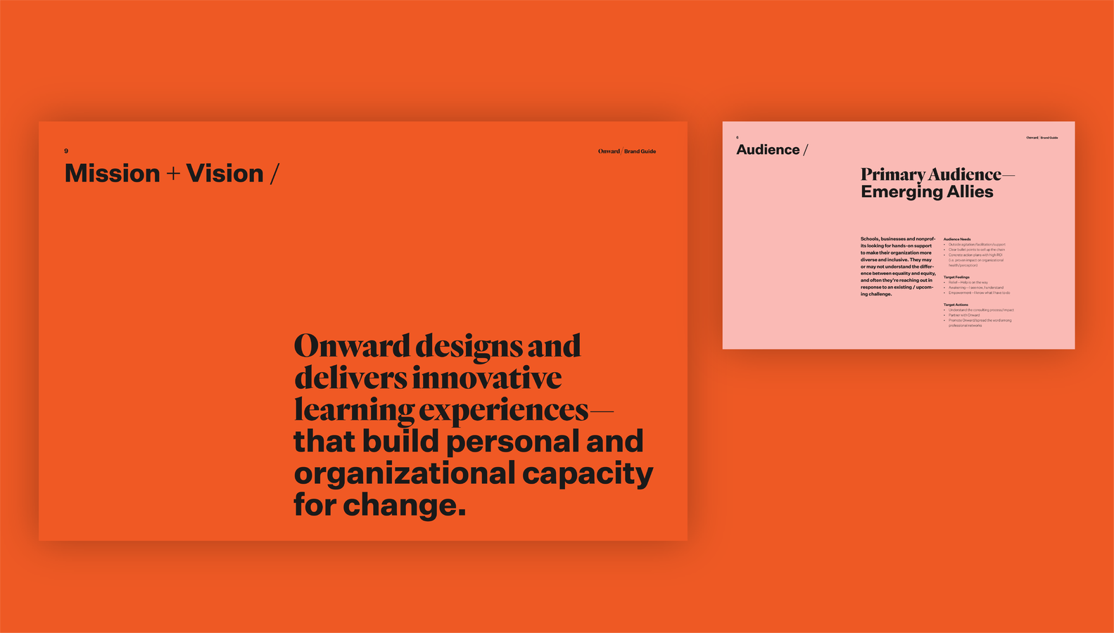 Onward brand guide mission and vision page