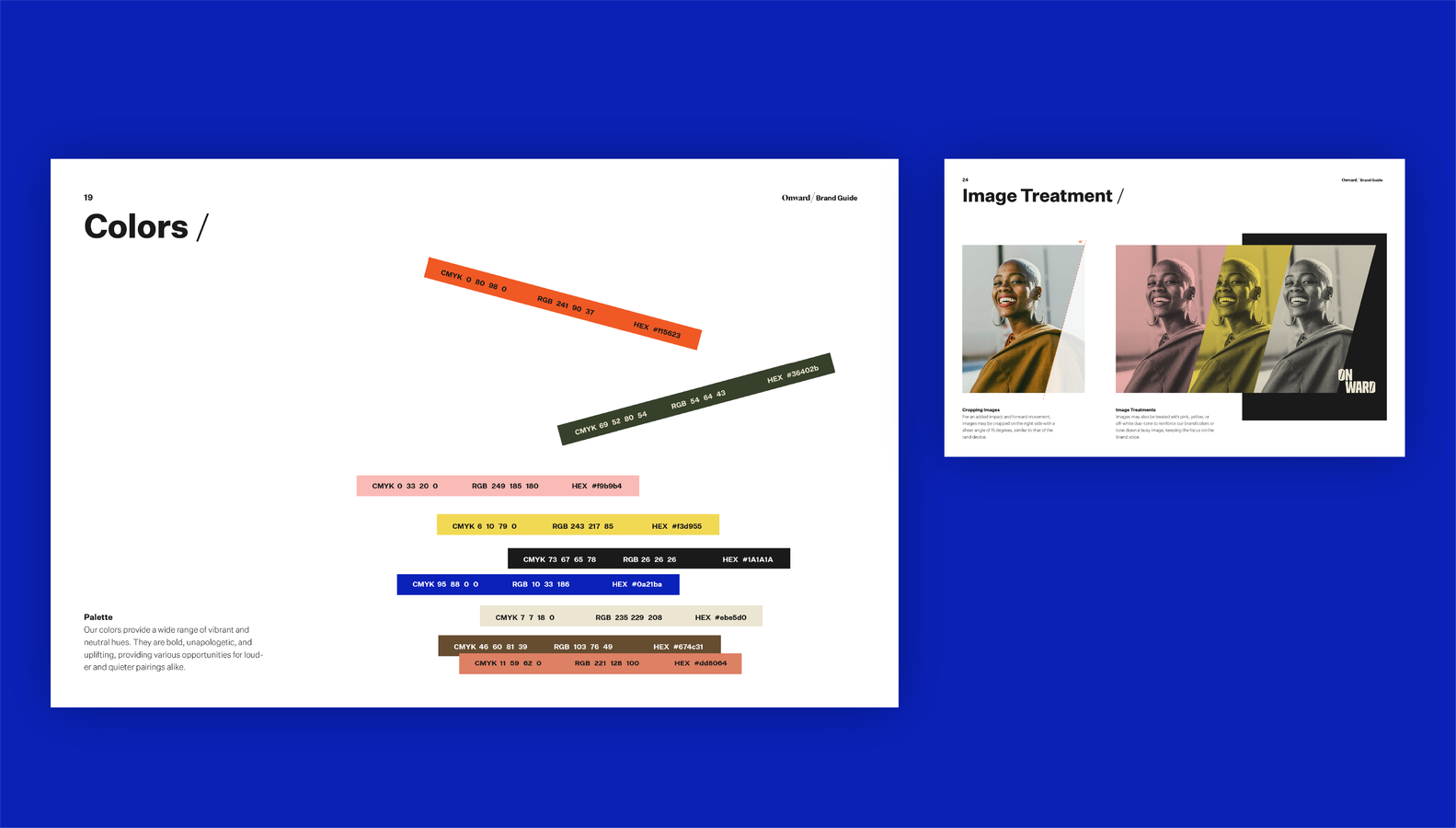 Onward brand guide color and image treatment page