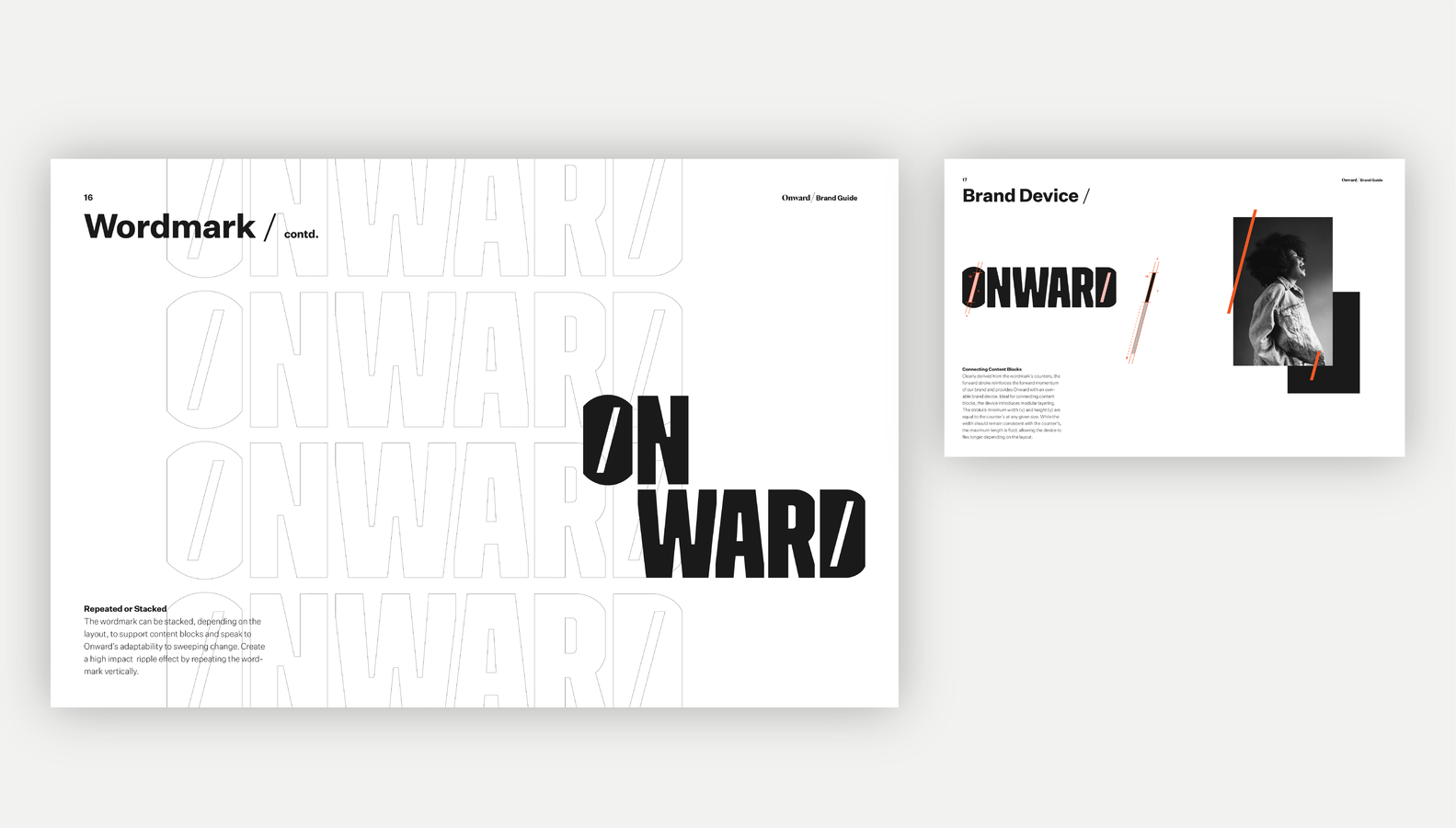Onward brand guide wordmark and brand device page