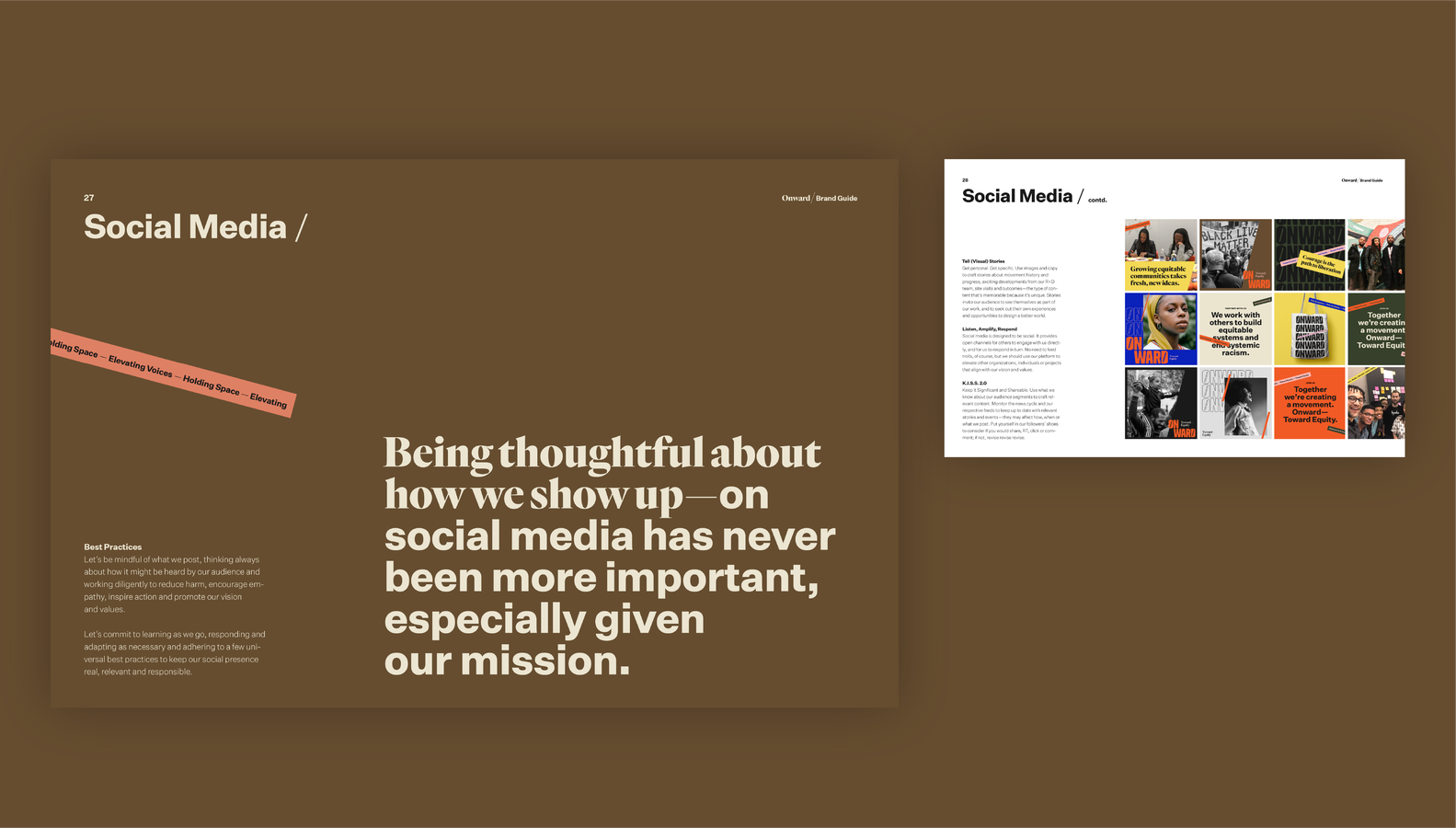 Onward brand guide social media guidelines page
