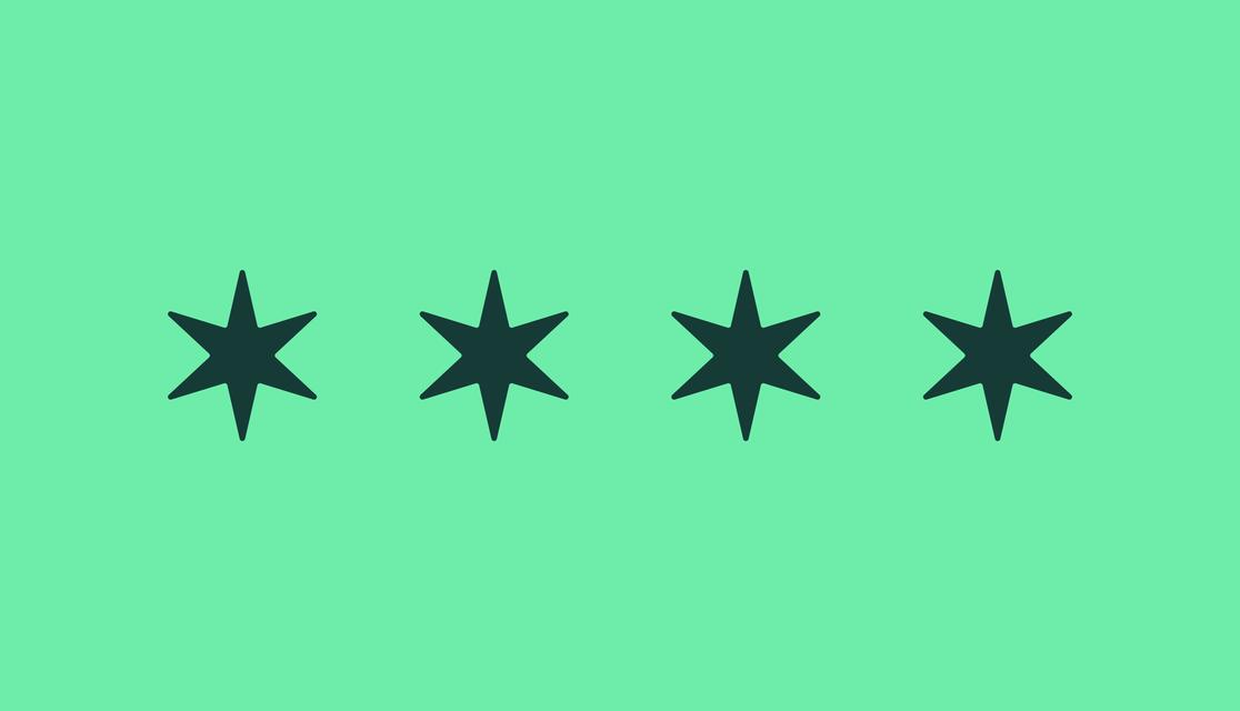 Stars of the Chicago flag dark green on light green
