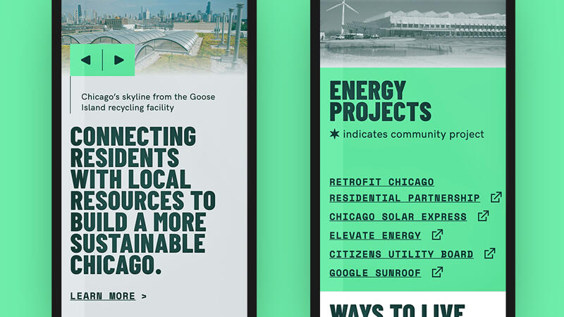 Mobile view of home page and energy projects page