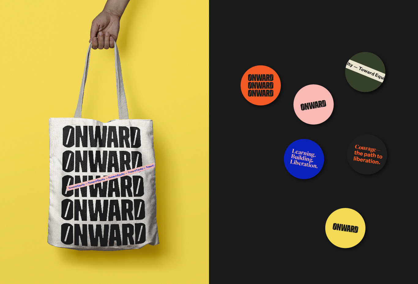 onward tote and stickers